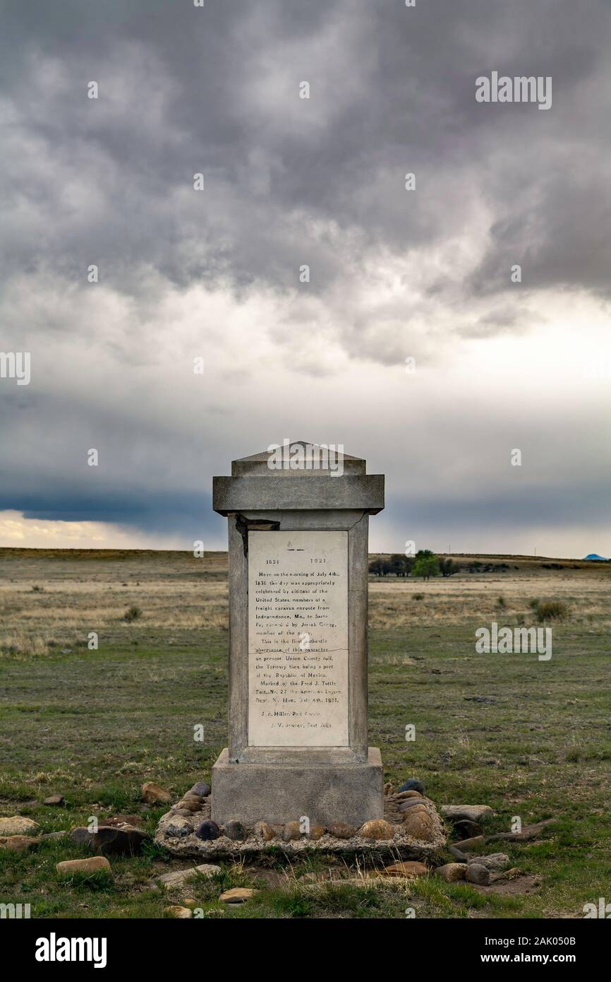 Monument (ca. 1920s), commemorating first 4th of July celebration in New Mexico territory in 1831, along Santa Fe Trail near Clayton, New Mexico USA Stock Photo