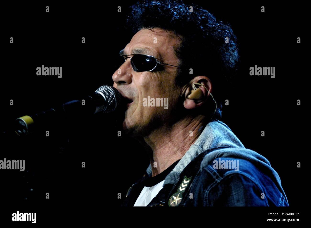 Milan Italy  25 March 2007 , Live concert of 25th birthday of Radio Italia at the DatchForum Assago: The singer Edoardo Bennato during the show Stock Photo