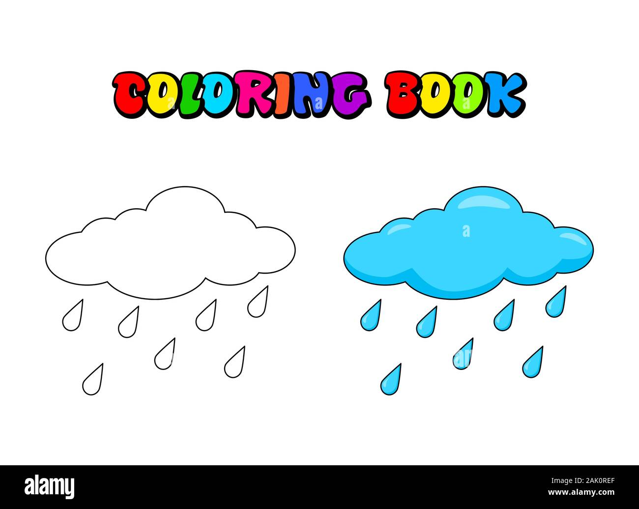 Cloud With Rain Drops Coloring Book For Children Vector Water Drops Outline Illustration Weather Forecast Coloring Page For Preschool Kids Stock Vector Image Art Alamy