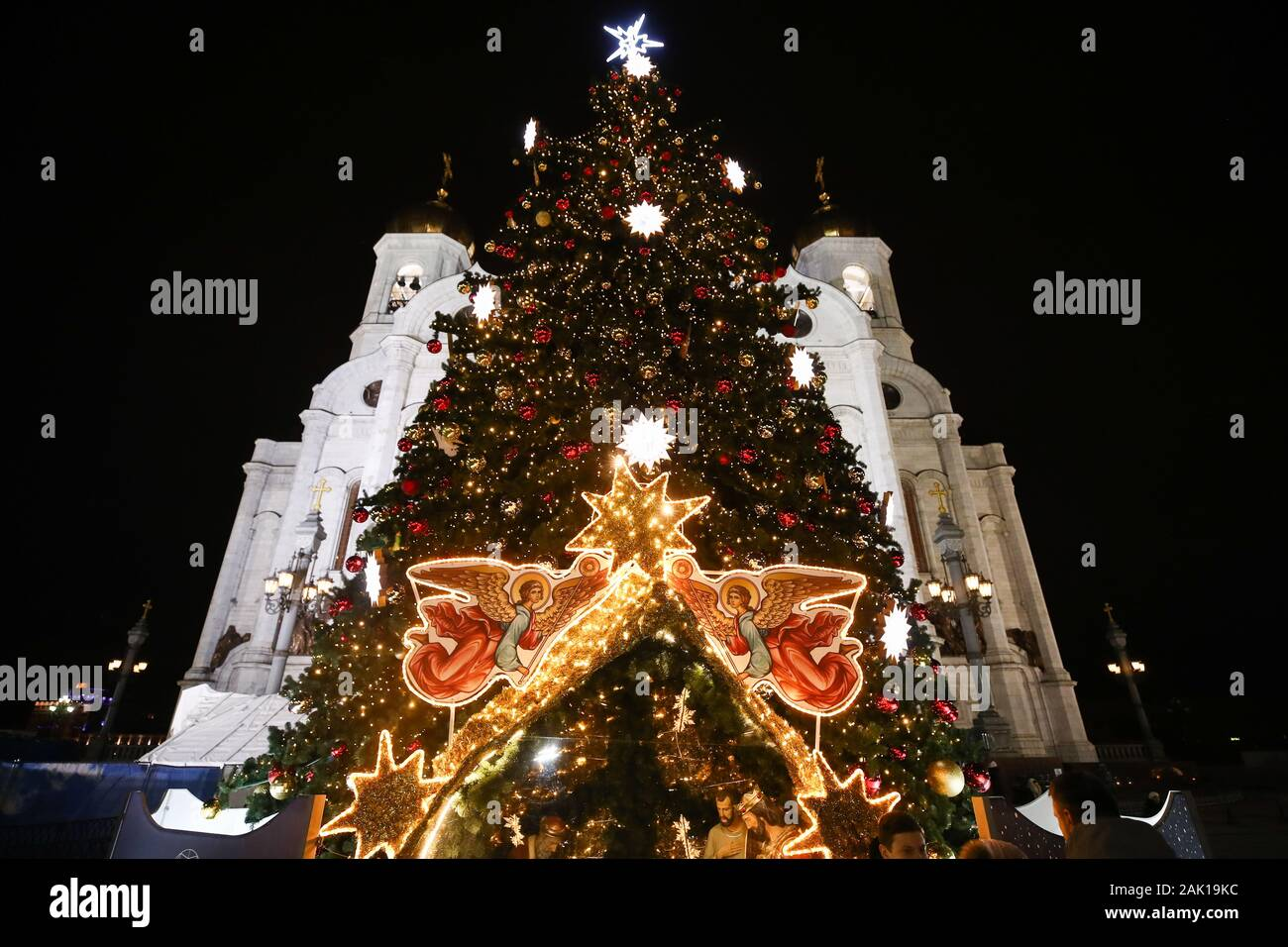 Julian Christmas Tree Lighting 2020 Moscow, Russia. 07th Jan, 2020. MOSCOW, RUSSIA   JANUARY 6, 2020
