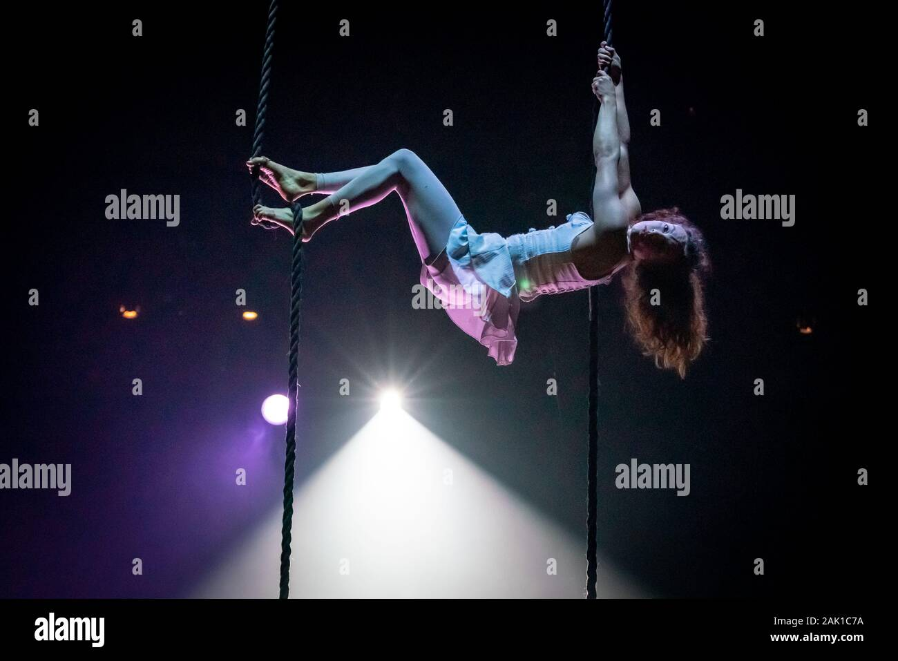 "NoFit State Circus performs their new show ""Lexicon"" at the Roundhouse venue in north London, UK. Stock Photo"