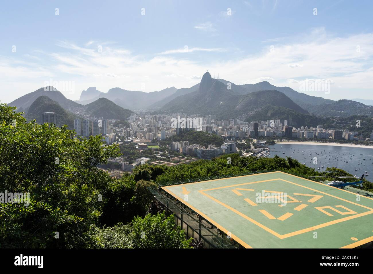 Beautiful view from Sugar Loaf Mountain to city and the ocean, Rio de Janeiro, Brazil Stock Photo