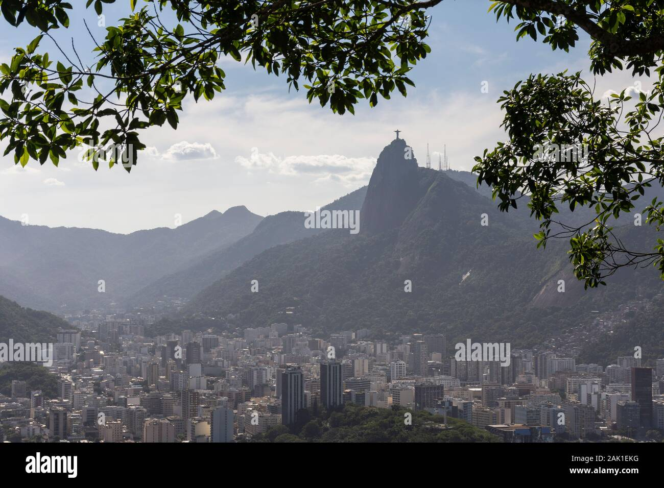 Beautiful view from Sugar Loaf Mountain to Corcovado and Christ, Rio de Janeiro, Brazil Stock Photo
