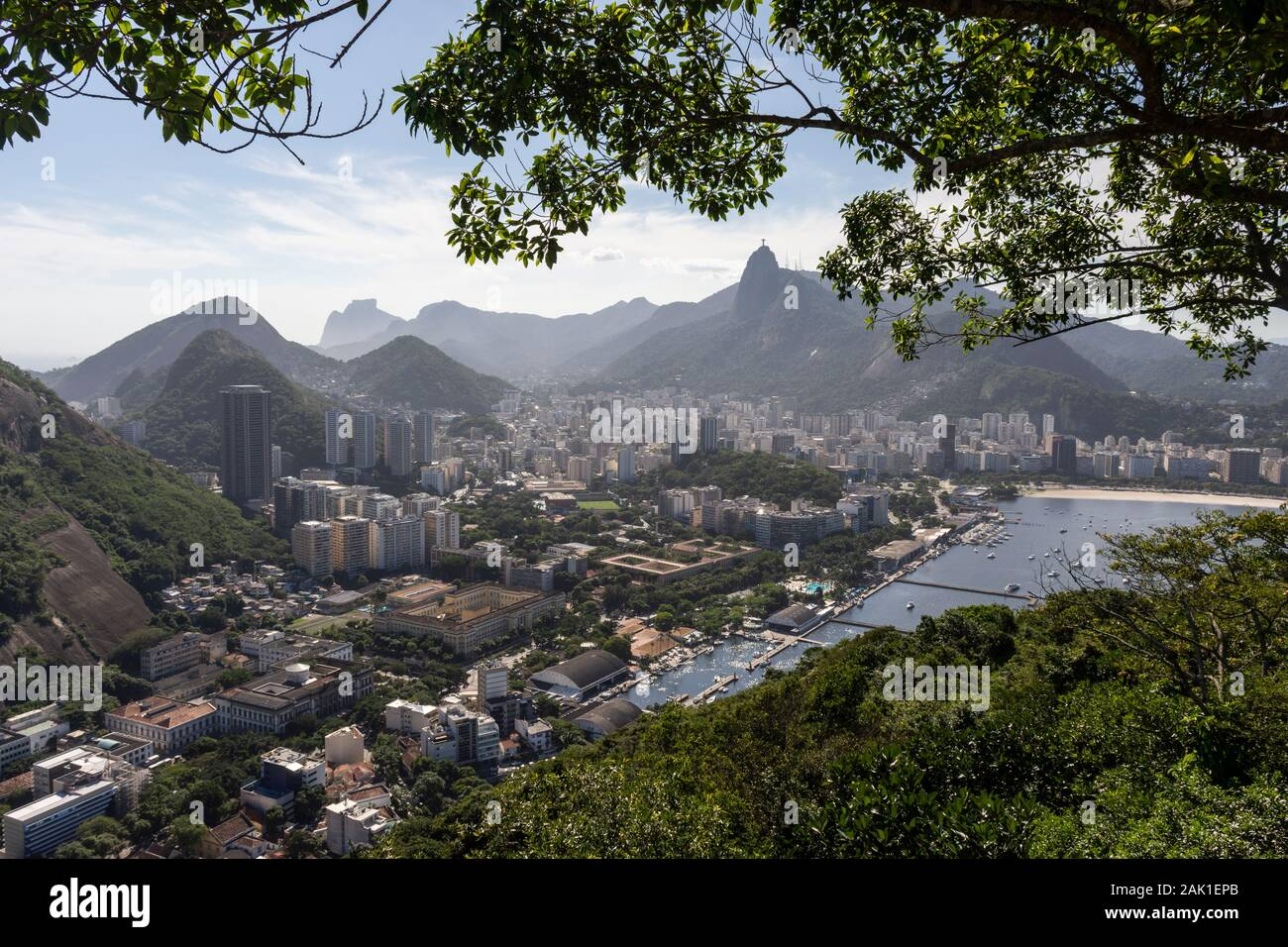 Beautiful view from Sugar Loaf Mountain to city and ocean, Rio de Janeiro, Brazil Stock Photo