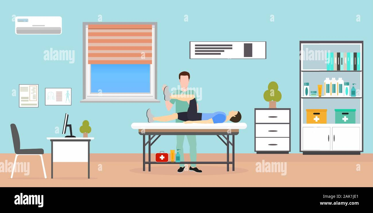 Vector of a man patient laying on the table being examined by therapist doctor Stock Vector