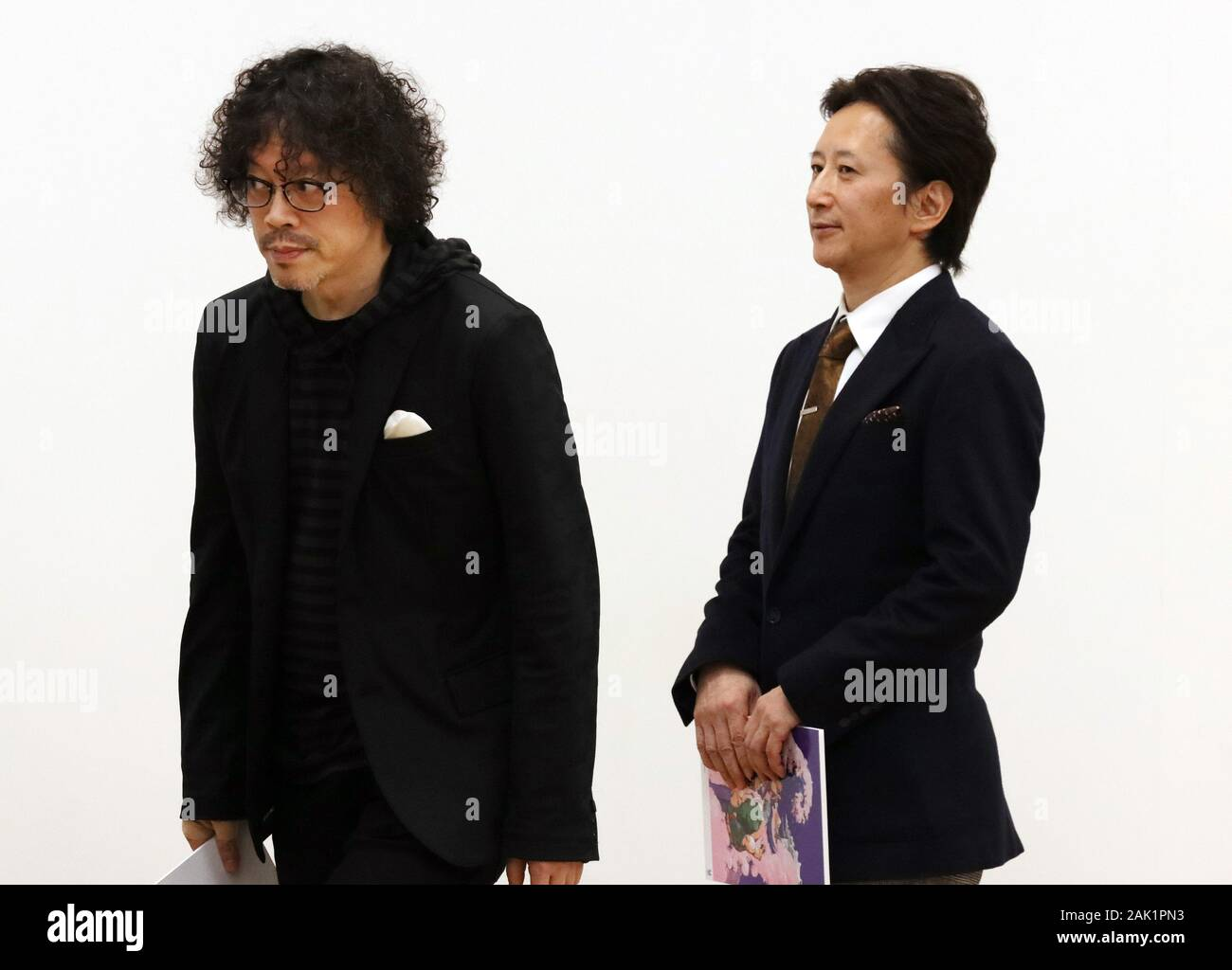 Tokyo Japan 6th Jan 2020 Comic Artists Naoki Urasawa L And Hirohiko Araki R Attend The Opening Ceremony For The Tokyo 2020 Olympics And Paralympics Official Art Posters Exhibition At The Museum