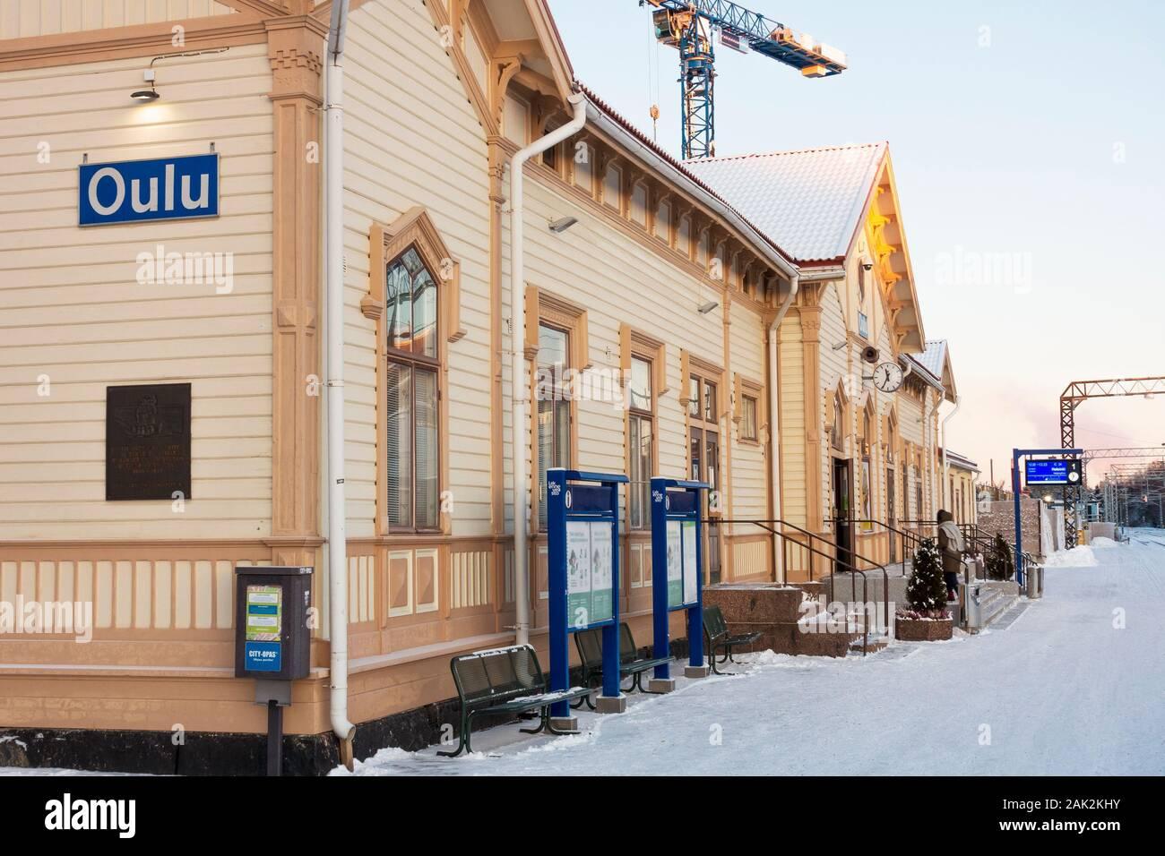 Oulu railway station in winter in Oulu Finland Stock Photo