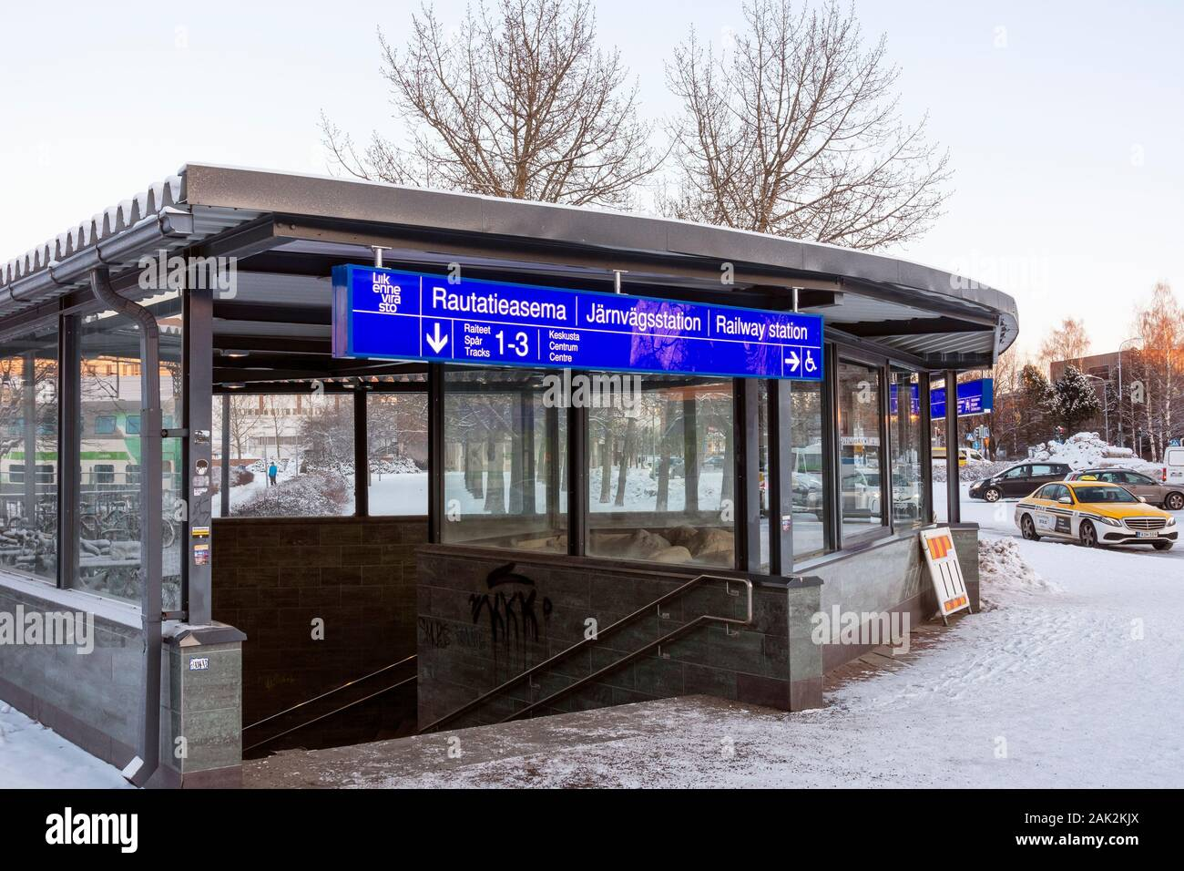 Passage from bus station to railway station in Oulu Finland Stock Photo