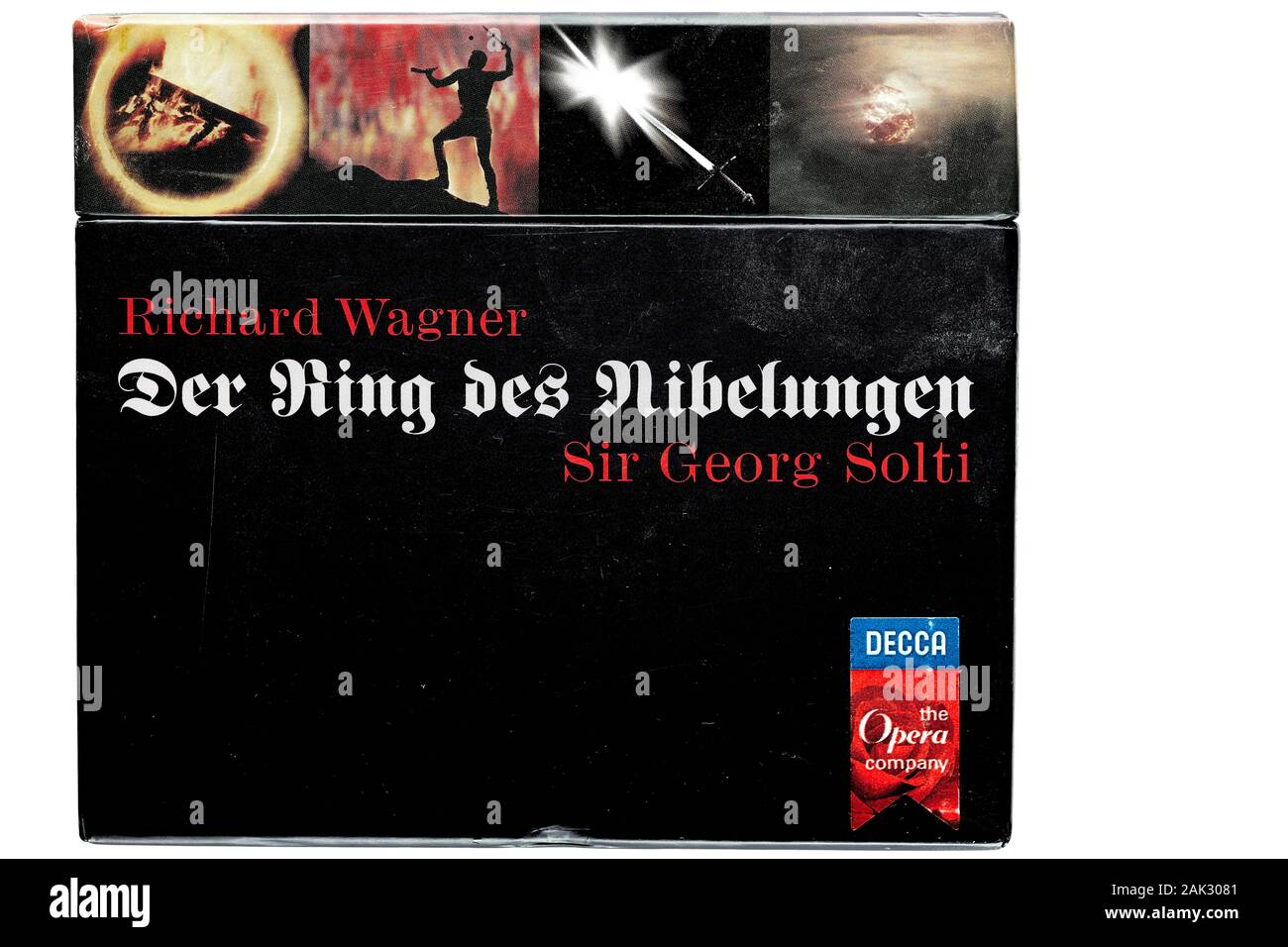 Cover of the historic music recording on cd of the composer Wagner's Ring cycle performed by the Vienna Philharmonic orchestra under conductor Solti. Stock Photo