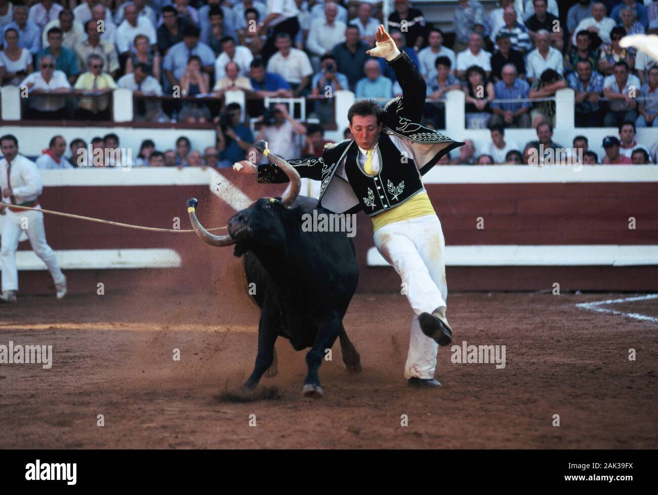 View of a torero in a traditional bloodless fight, called Course Landaise in the arena of Dax, France.(undated picture) | usage worldwide Stock Photo