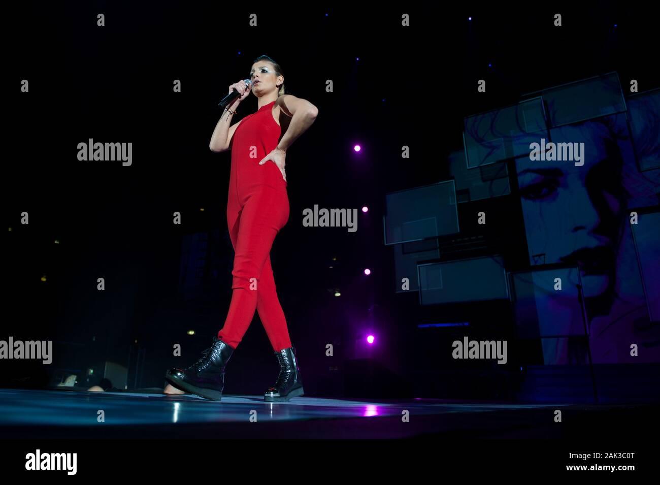 Milan Italy  20 November 2013 : Live concert of Emma at the Mediolanum Forum Assago : Italian singer Emma during the concert Stock Photo