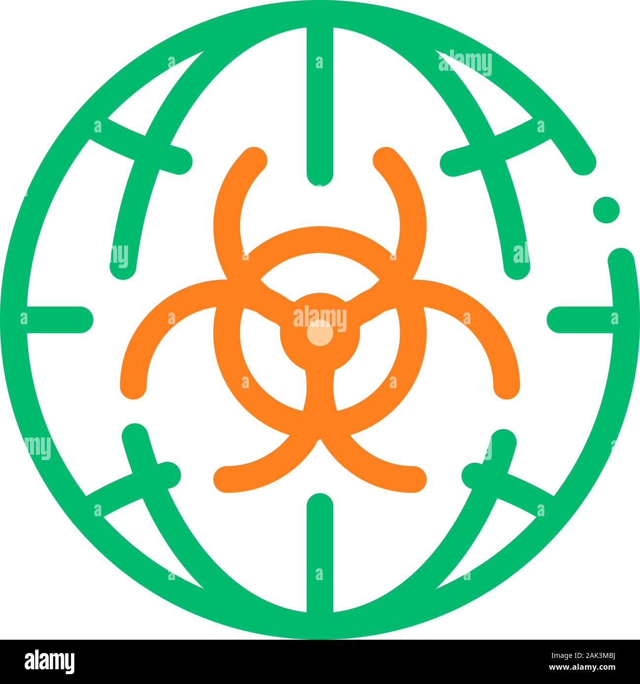 Biohazard Symbol Problem Vector Thin Line Icon Stock Vector