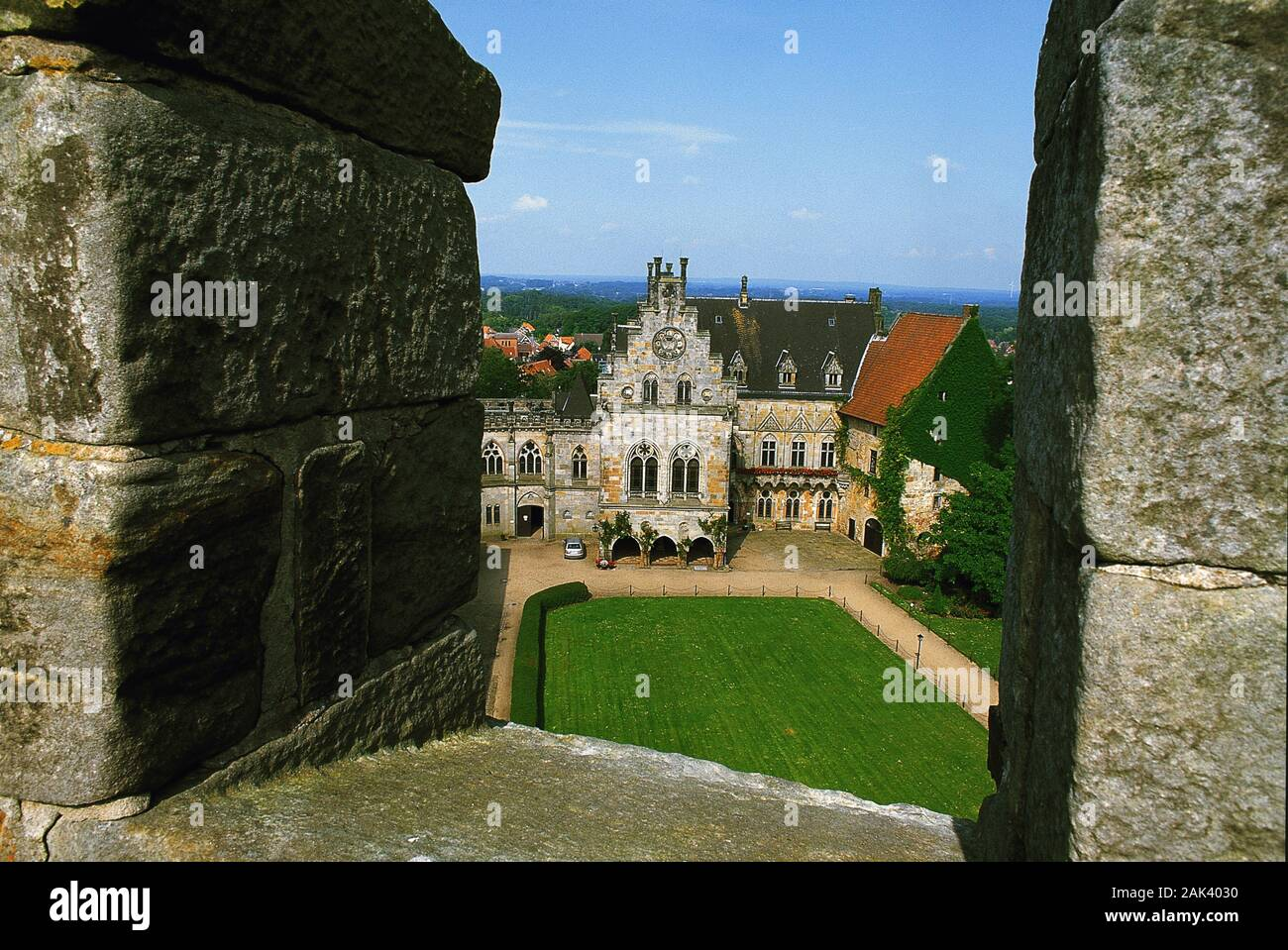 From a defenestration one has a great view to the inner ward of Bentheim Castle in Bad Bentheim in the Münsterland Region. Already in the 11th century Stock Photo