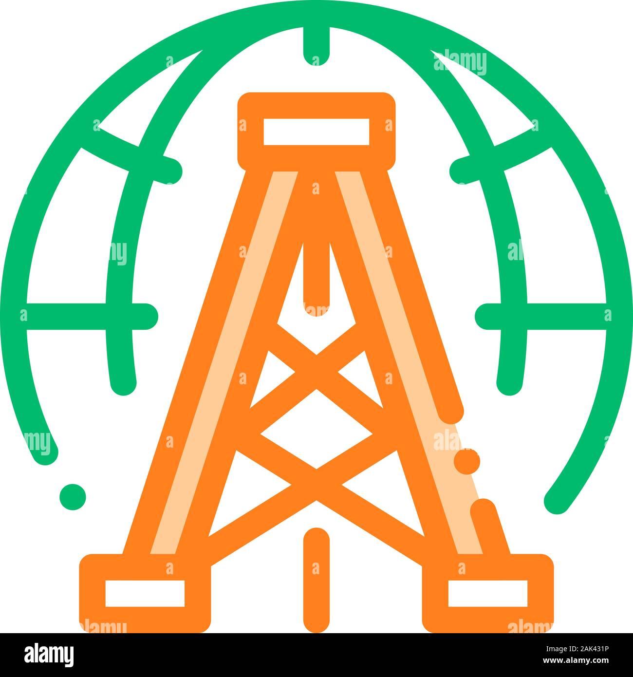 Oil-Derrick Planet Problem Vector Thin Line Icon Stock Vector