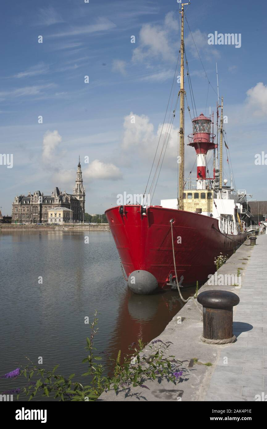 Antwerpen: aktives Feuerschiff von 1950 bis 1992. Seit 1995 als Museumsschiff im Bonapartedock im Nationalen Schiffahrtsmuseum, Flandern | usage world Stock Photo