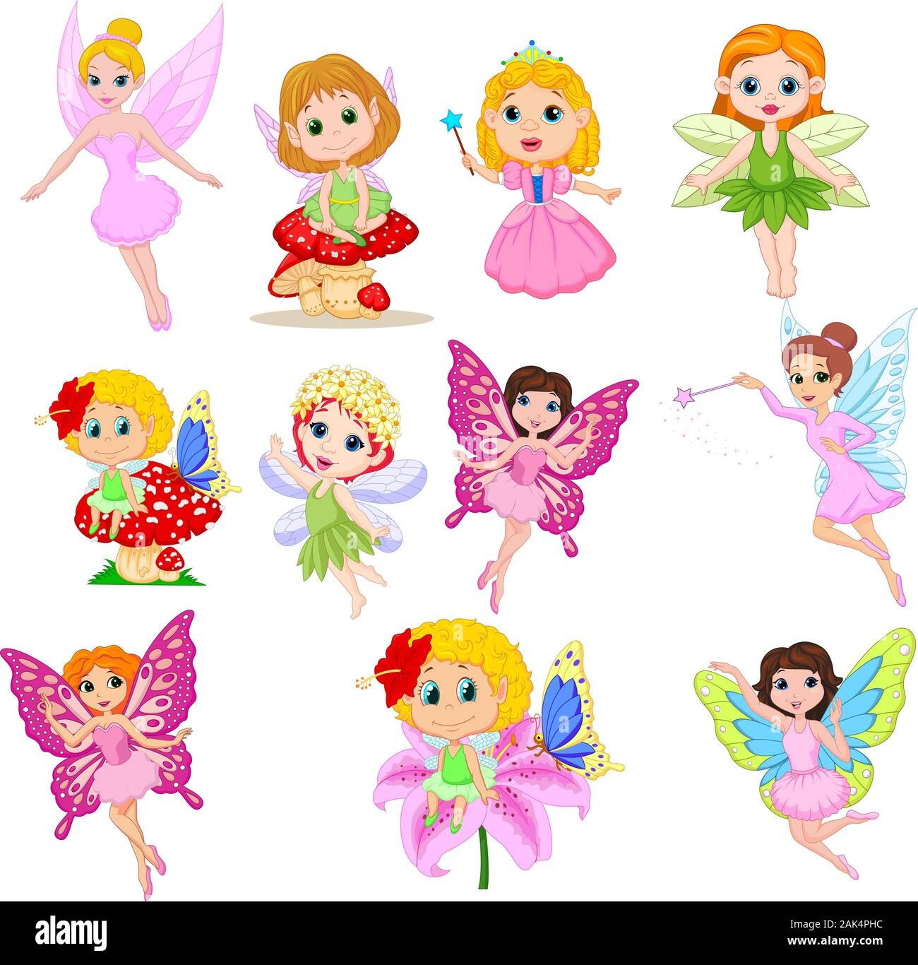 Set Of Cute Beautiful Fairies Cartoon Isolated On A White Background Stock Vector Image Art Alamy