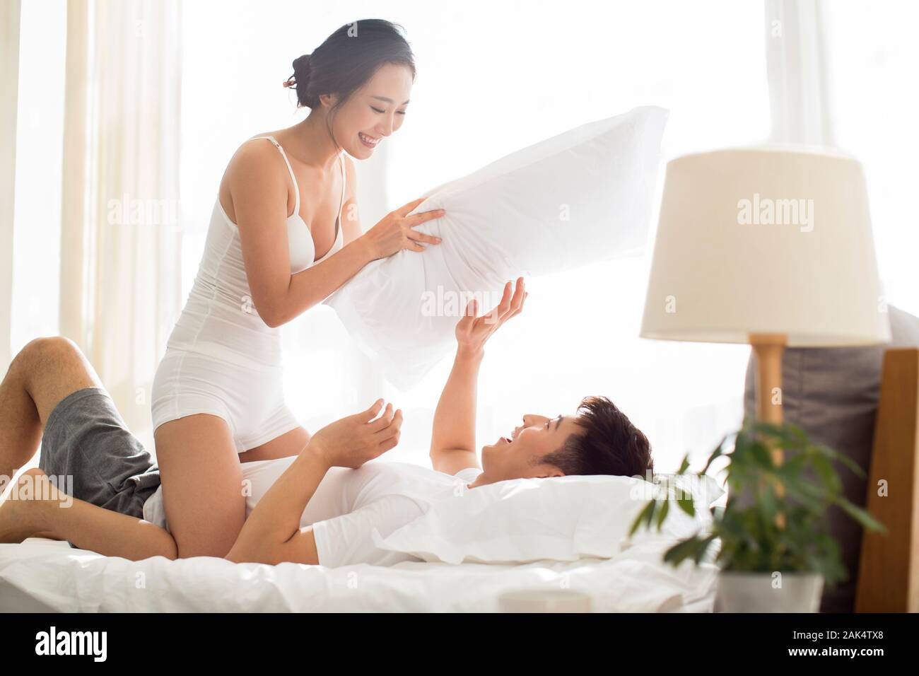 Chinese couple having fun