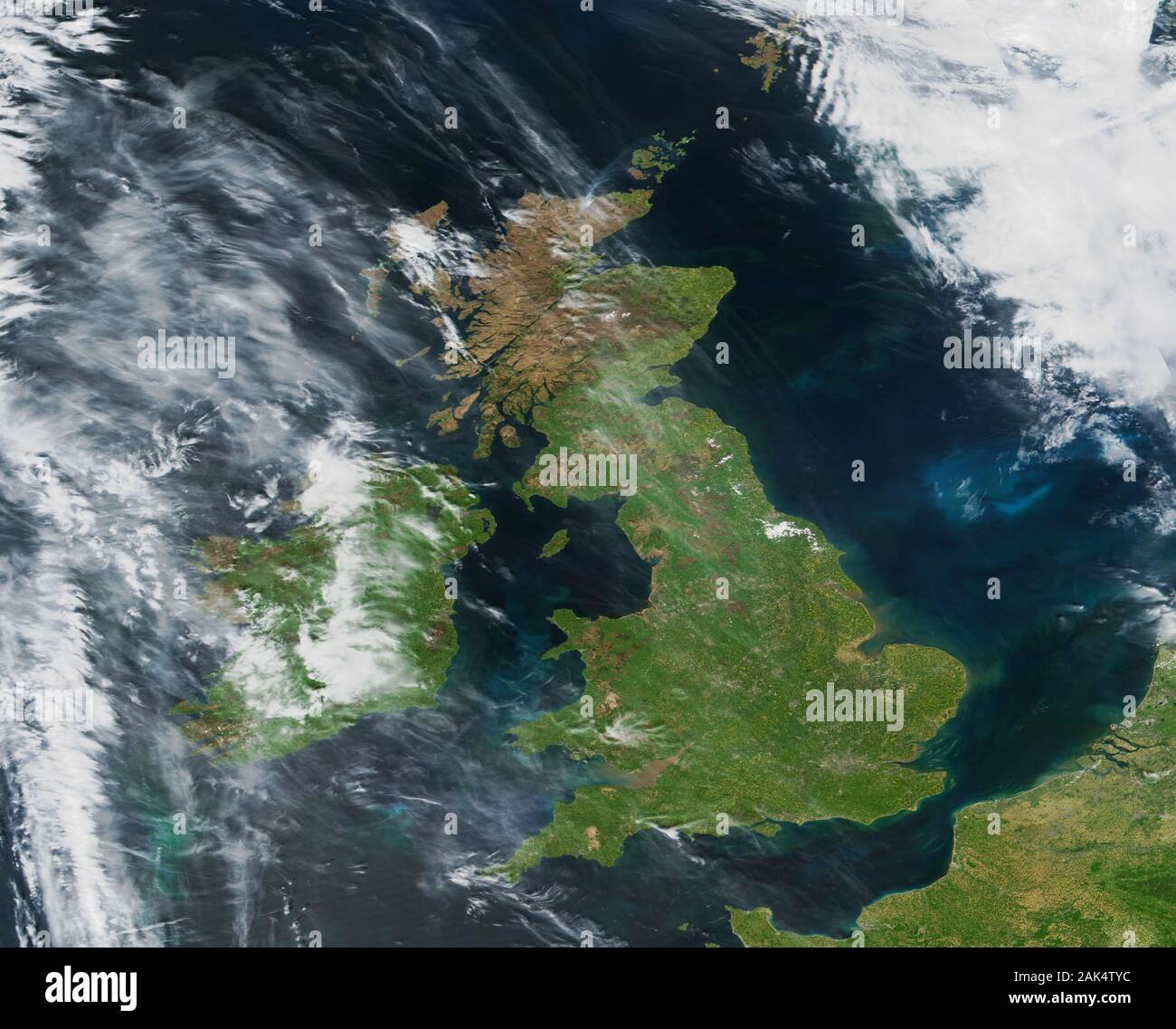 A somewhat rare view of the British Isles from space with hardly any cloud cover on 14 May 2019 Stock Photo
