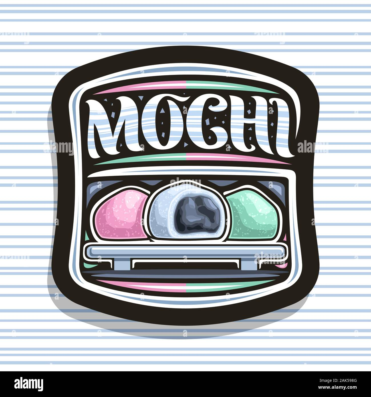 Vector Logo For Japanese Mochi Dark Decorative Tag With Illustration Of 3 Variety Traditional Ice Creams On Tray Original Typeface For Word Mochi S Stock Vector Image Art Alamy