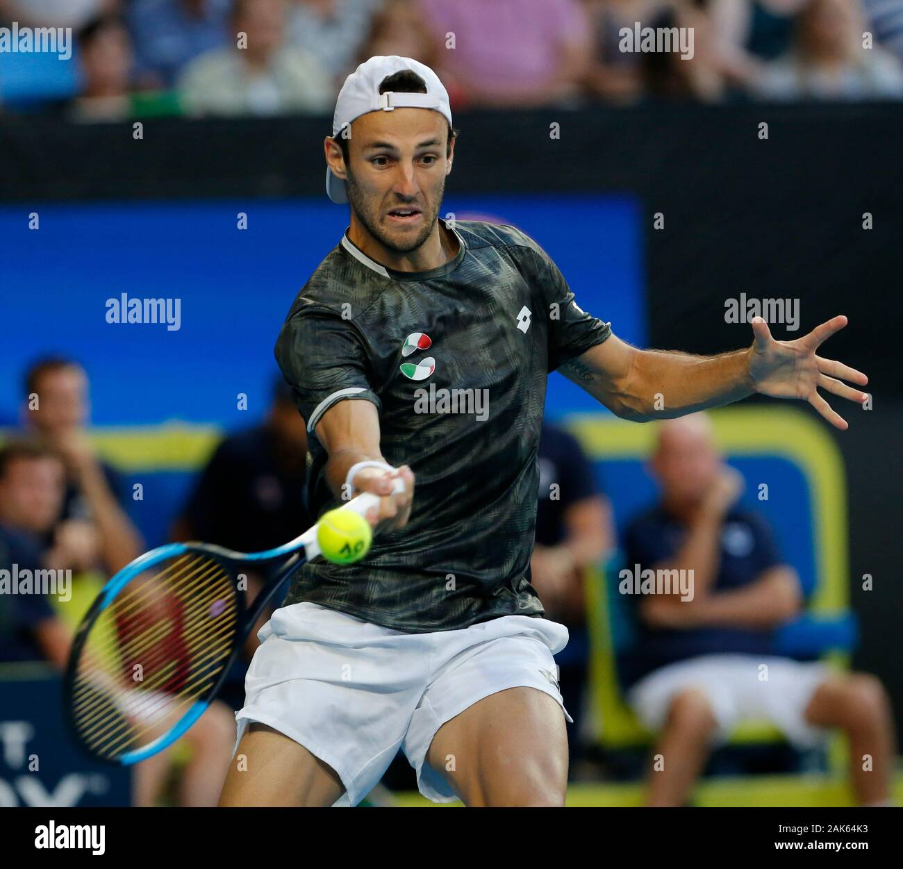 RAC Arena, Perth, Western Australia. 7th Jan, 2020. ATP Cup Australia,  Perth, Day 5; USA versus Italy; Stefano Travaglia of Italy plays a forehand  shot against Taylor Fritz of the USA -