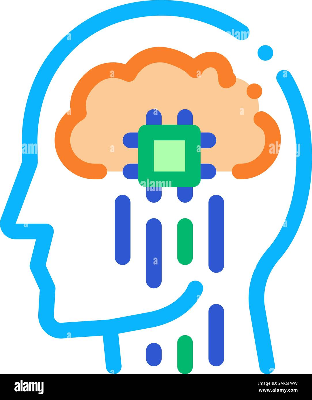 Head Nerve Impulses Biohacking Icon Vector Illustration Stock Vector