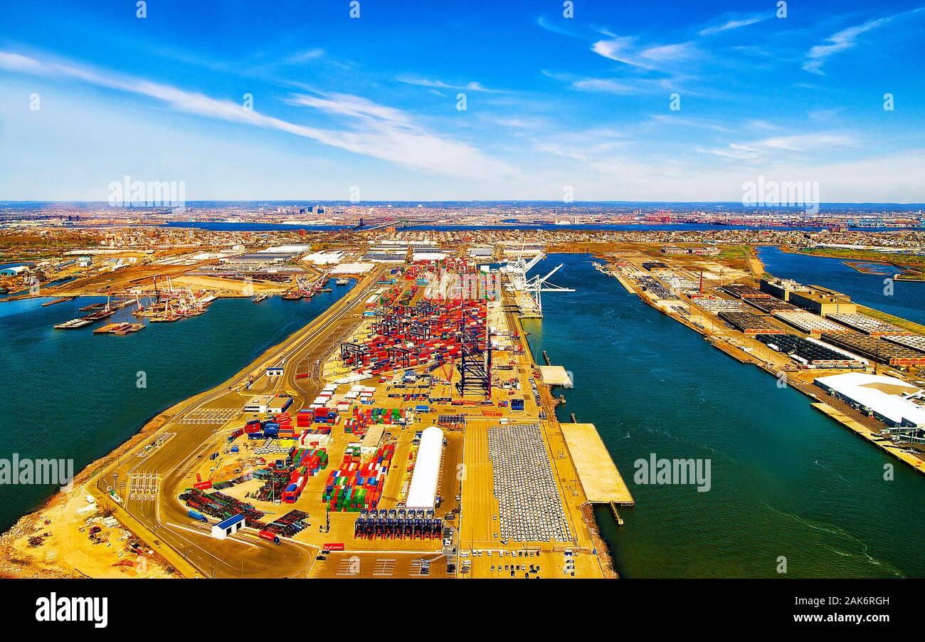 Aerial view on global container terminal in Bayonne reflex Stock Photo