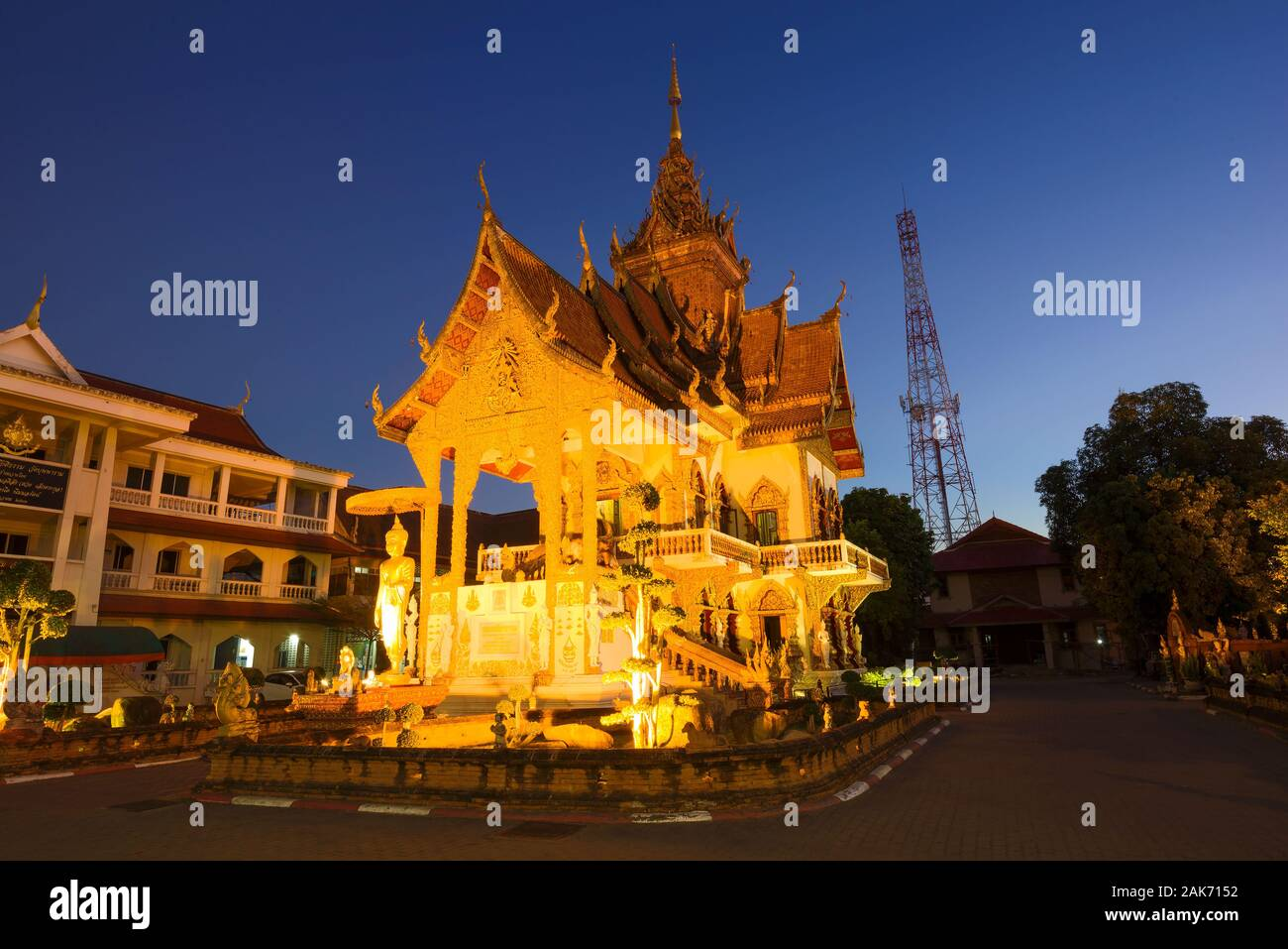 CHIANG MAY, THAILAND - DECEMBER 22, 2018: Evening on the Buddhist temple Wat Buppharam Stock Photo