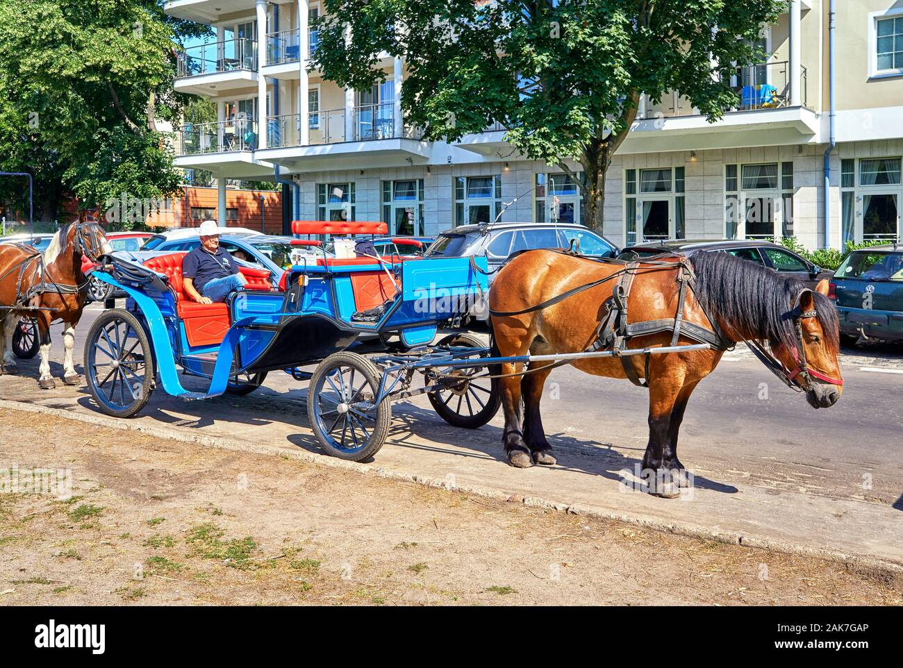 Horse carriages for a city tour in Swinemünde. Swinoujscie, Poland Stock Photo