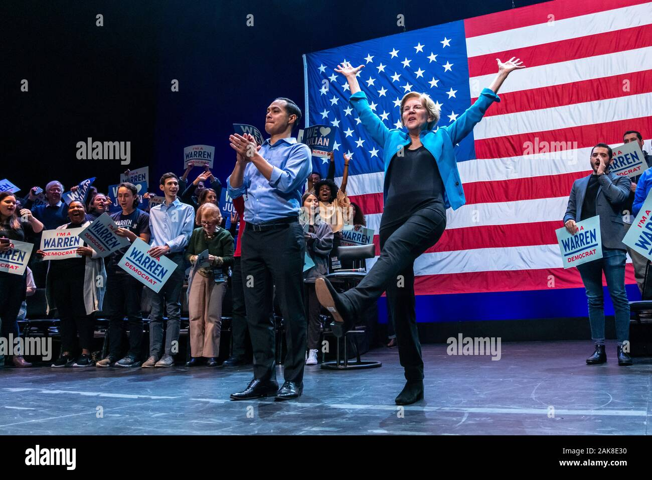 New York, USA,  7 January 2020.  US Senator and Presidential candidate Elizabeth Warren dances to cheering fans as Julian Castro, former secretary of Housing and Urban Development (HUD) applauds at the end of  a campaign rally at Brooklyn's Kings Theatre in New York.  Credit: Enrique Shore/Alamy Live News Stock Photo