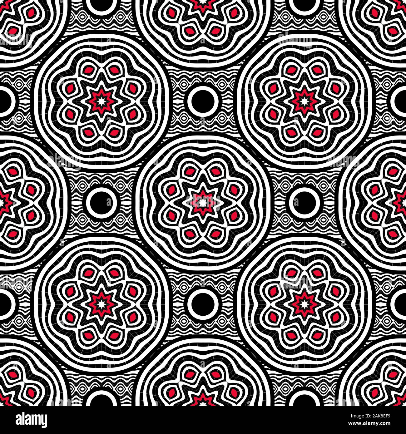 Seamless geometric pattern in black and white, with some contrasting red elements. Stock Photo