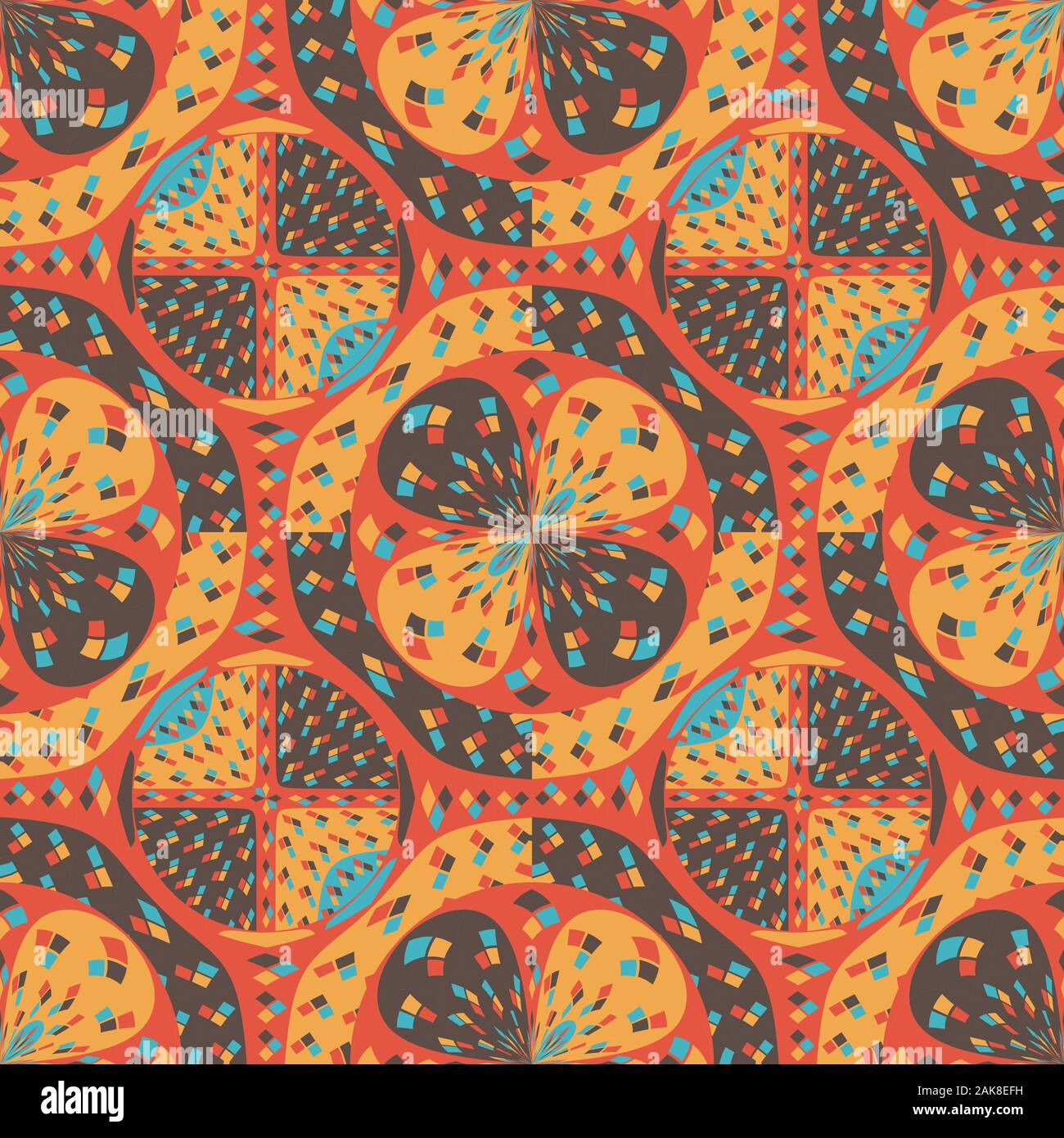 Saturated tapestry-like algorithmic pattern in mostly orange and yellow tones. Geometric digital art. Stock Photo