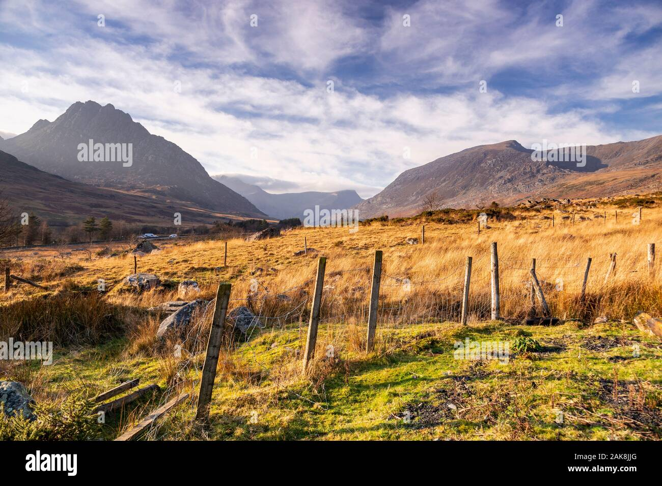 Fence in the Ogwen Valley, Snowdonia, North Wales Stock Photo