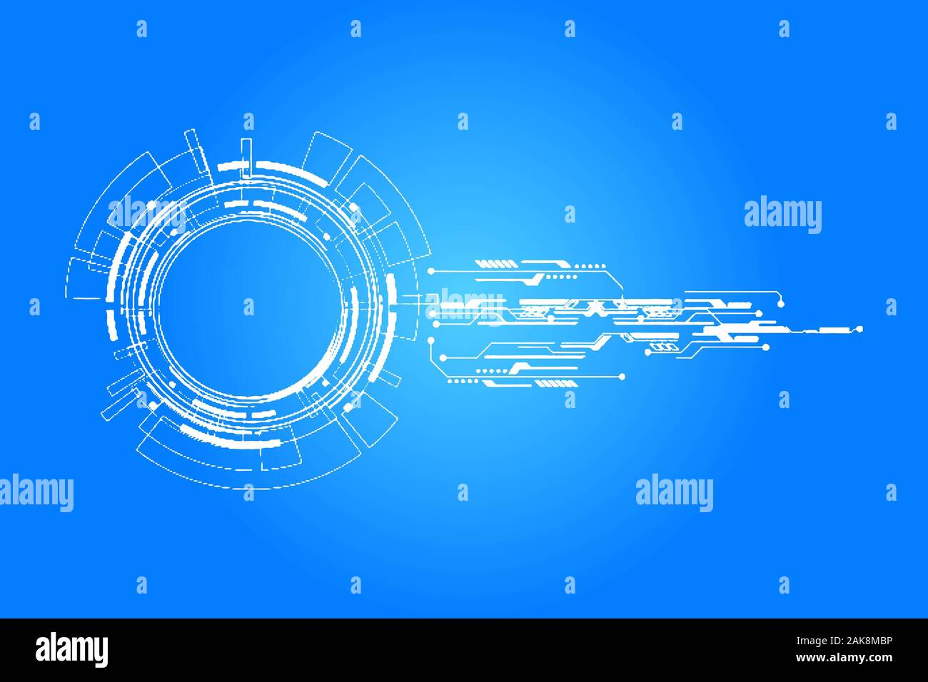 Abstract technology background with various technology elements Hi-tech communication concept innovation background Circle empty space for your text Stock Photo