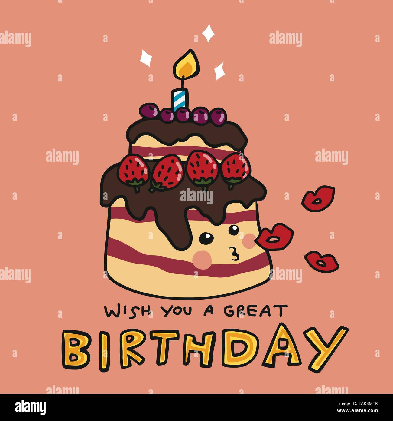 Enjoyable Wish You A Great Birthday Cake Kissing Cartoon Vector Illustratio Funny Birthday Cards Online Overcheapnameinfo