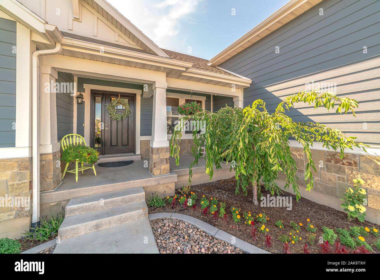 Home With Landscaped Yard Stairs Porch And Front Door With