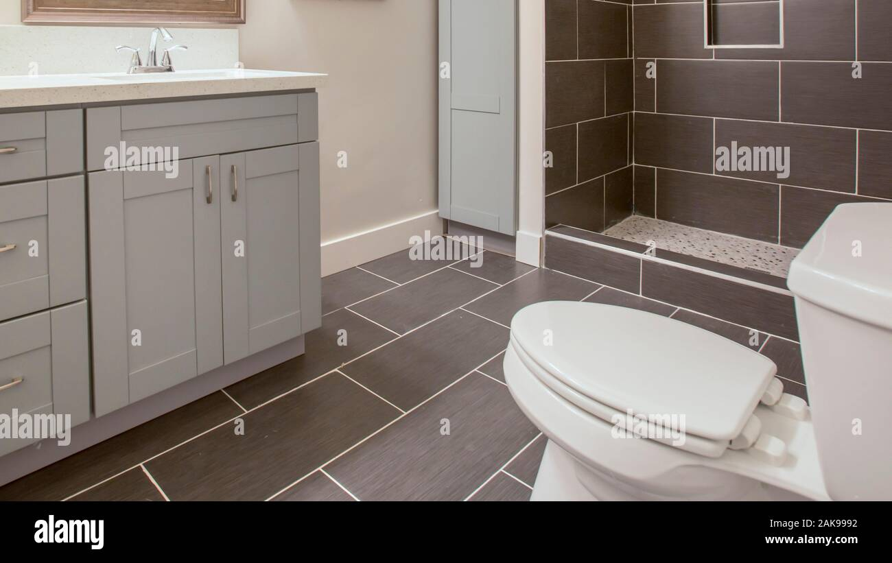 Panorama California Bathroom Clean Inside With Black Tile Stock