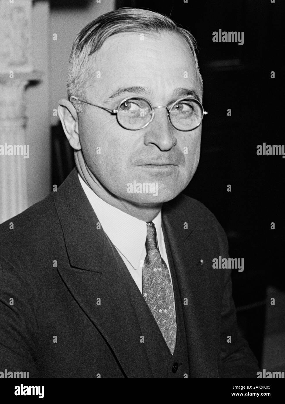 Vintage portrait photo of Missouri Senator - and future President - Harry S Truman. Photo circa 1935 by Harris & Ewing. Truman (1884 – 1972) would later become the 33rd US President (1945 – 1953). Stock Photo