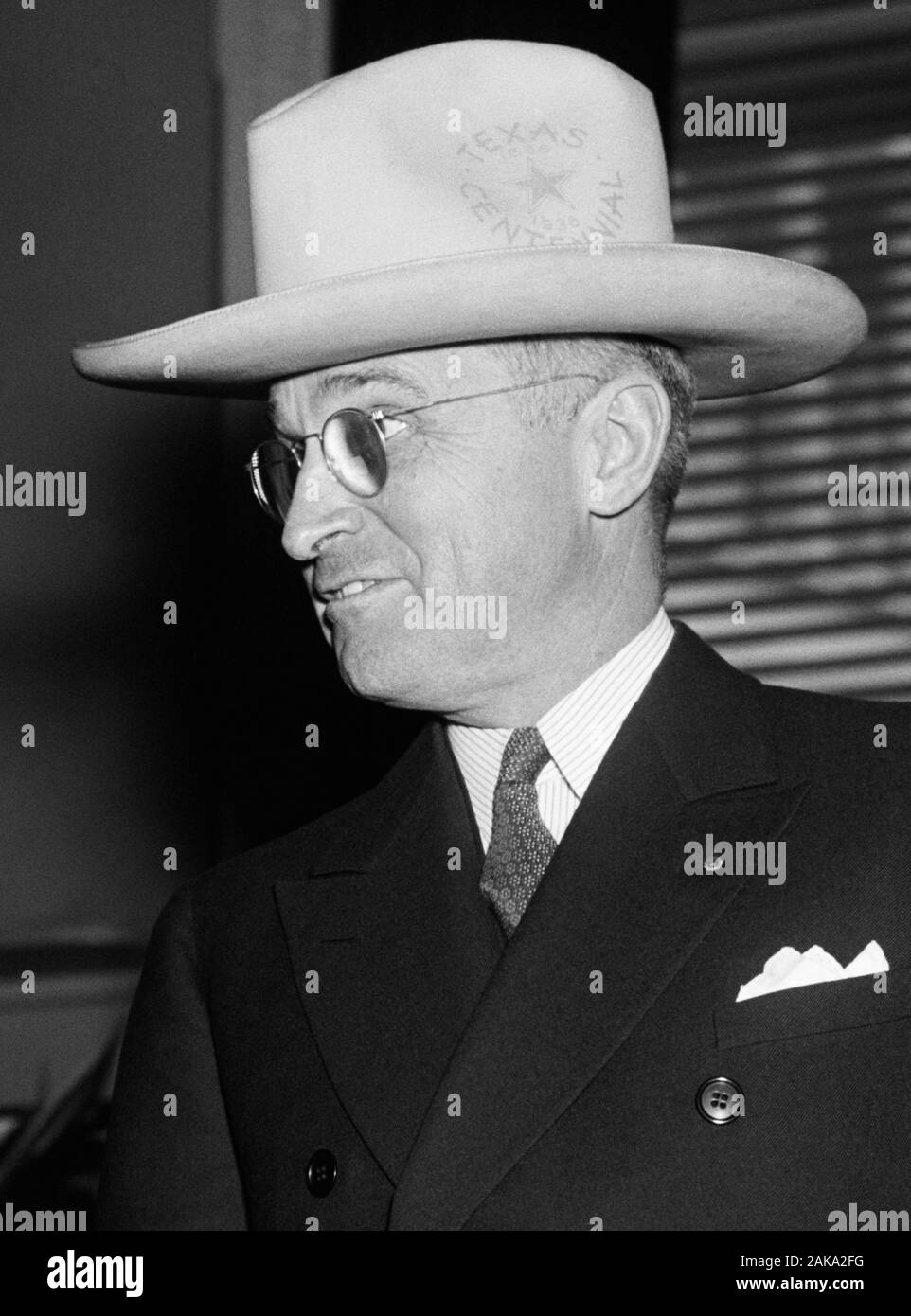 Vintage photo of Missouri Senator - and future President - Harry S Truman. Photo by Harris & Ewing taken in Washington DC on February 17 1938. Truman (1884 – 1972) would later become the 33rd US President (1945 – 1953). Stock Photo