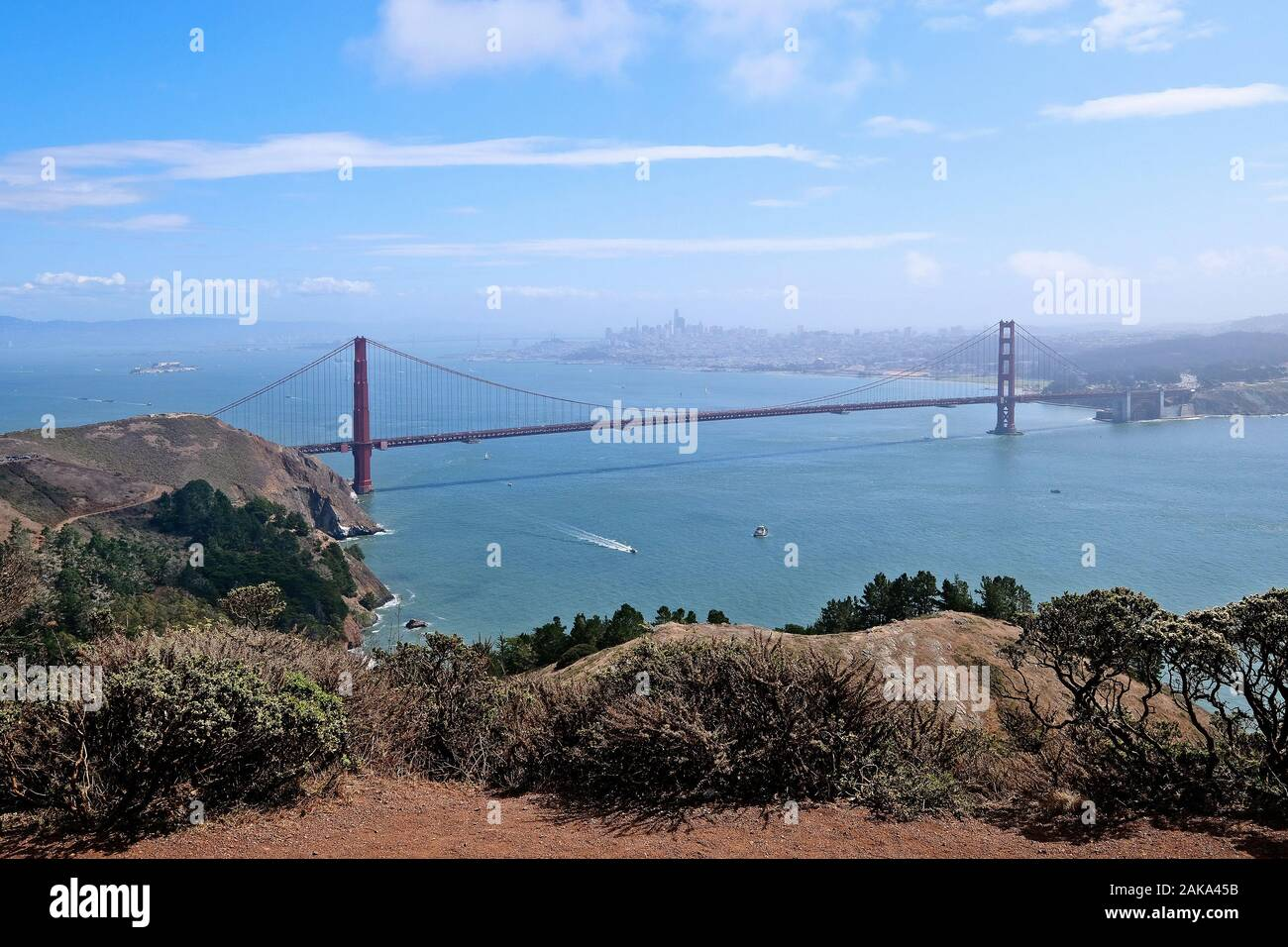 View of the Golden Gate Bridge from Hawk Hill at the northern end of the bridge, San Francisco, California, USA Stock Photo