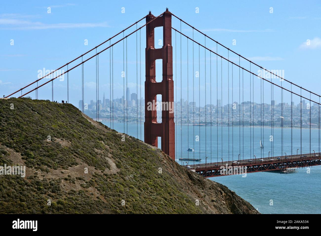 View of the Golden Gate Bridge and downtown from Golden Gate View Point at the northern end of the bridge, San Francisco, California, USA Stock Photo