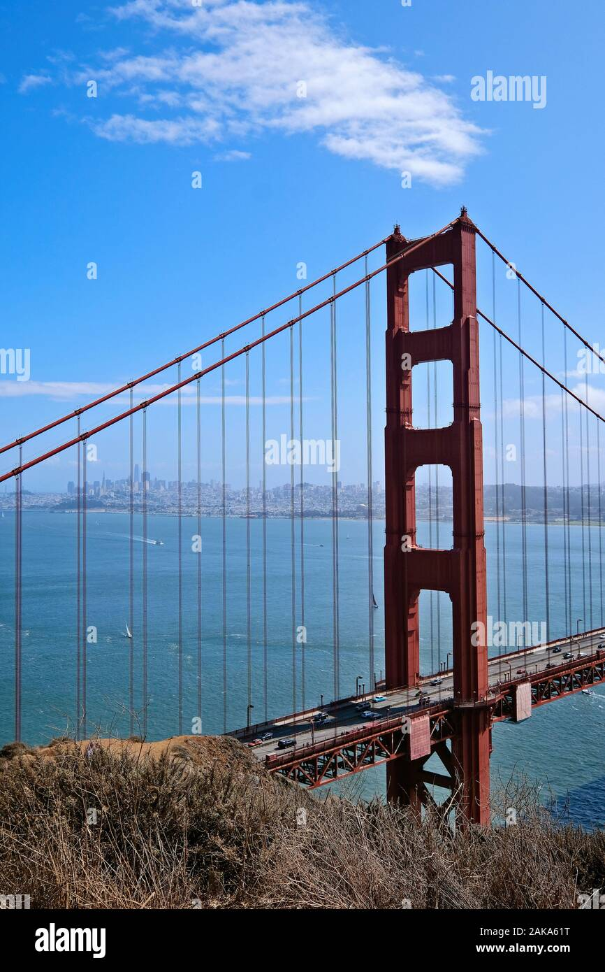View of the Golden Gate Bridge and downtown from the Battery Spencer viewpoint at the northern end of the bridge, San Francisco, California, USA Stock Photo