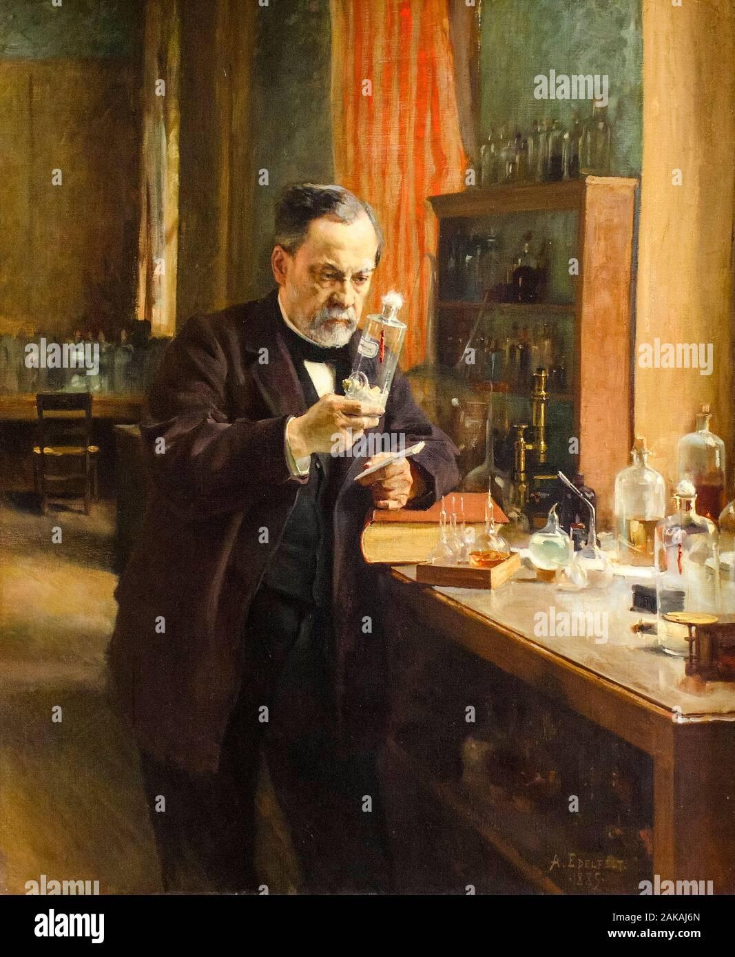 Louis Pasteur, (1822-1895), in his laboratory, portrait painting by Albert Edelfelt, 1885 Stock Photo