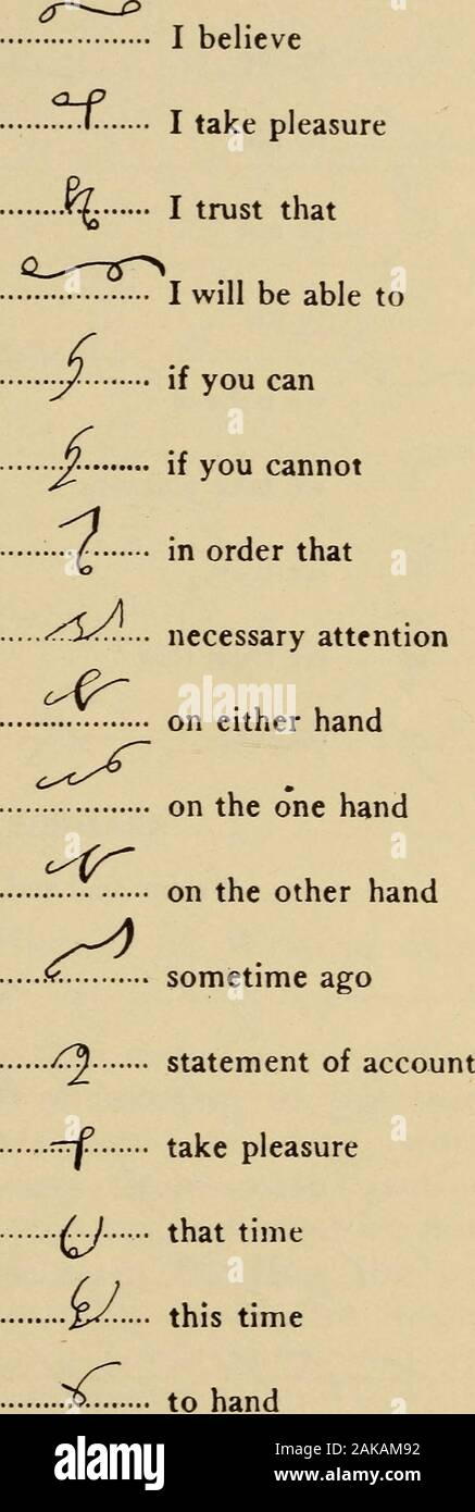 Day's standard shorthand; . of eachphrase, pronouncing the phrase at the time of writ-ing it. Write the signs slowly and carefully at .first,but increasing the movement of the fingers with therepetition of the sign. (a) The phrase and-so-fourth (etc.) is a joined toS, fourth being expressed by F. (b) Carefully note the phrases to-me and to-tny,both being-written upwards with more slant thanthe ordinary up-stroke. (c) In the phrase at once the circle vowel is writ-ten just belowT the line. (d) In a phrase time is generally written with thesyllable Tern. (e) The phrases to-the and to-a are simpl Stock Photo