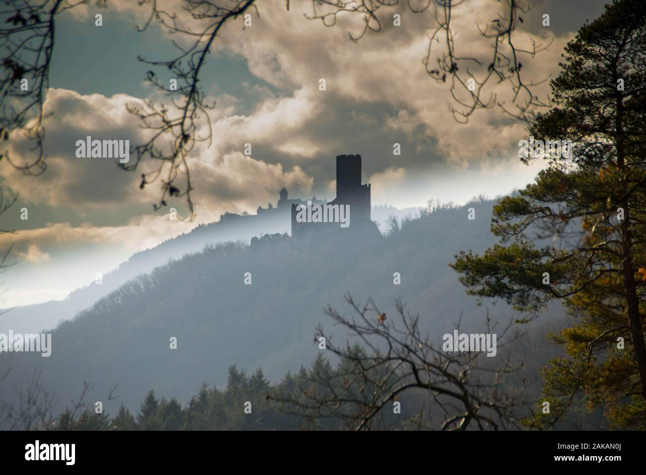 ortenbourg castle ruin and its view in the vosges mountains in france Stock Photo