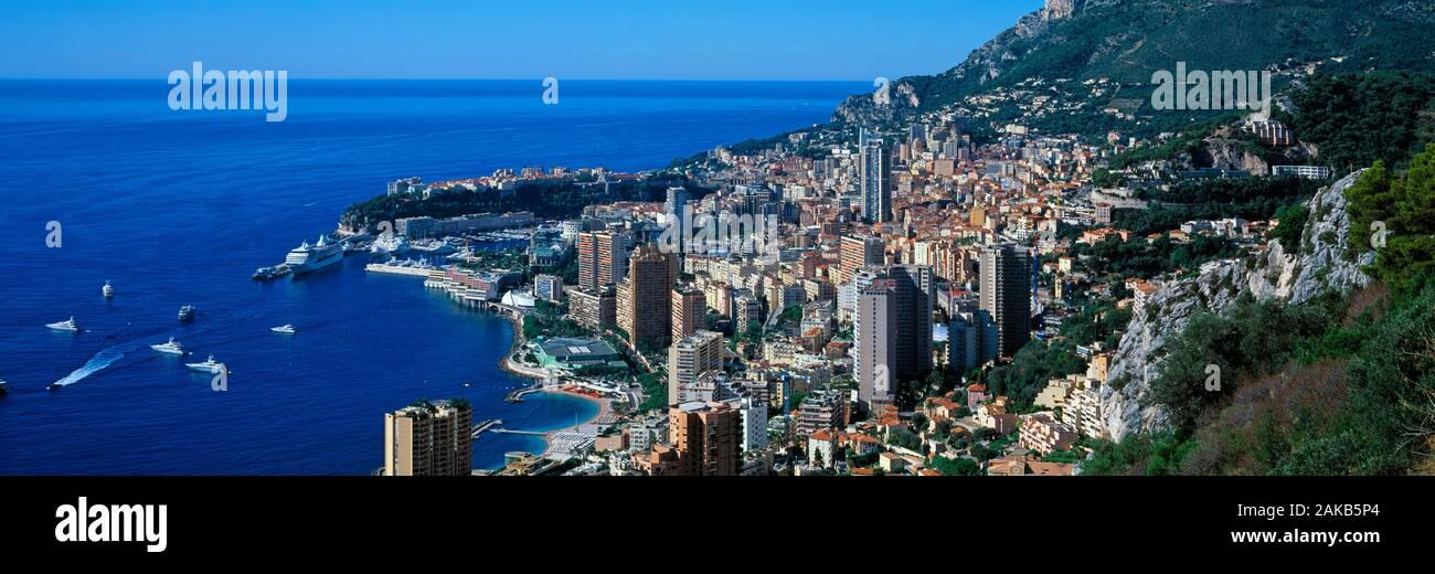 Aerial view of coastal city of Monte Carlo, Monaco Stock Photo