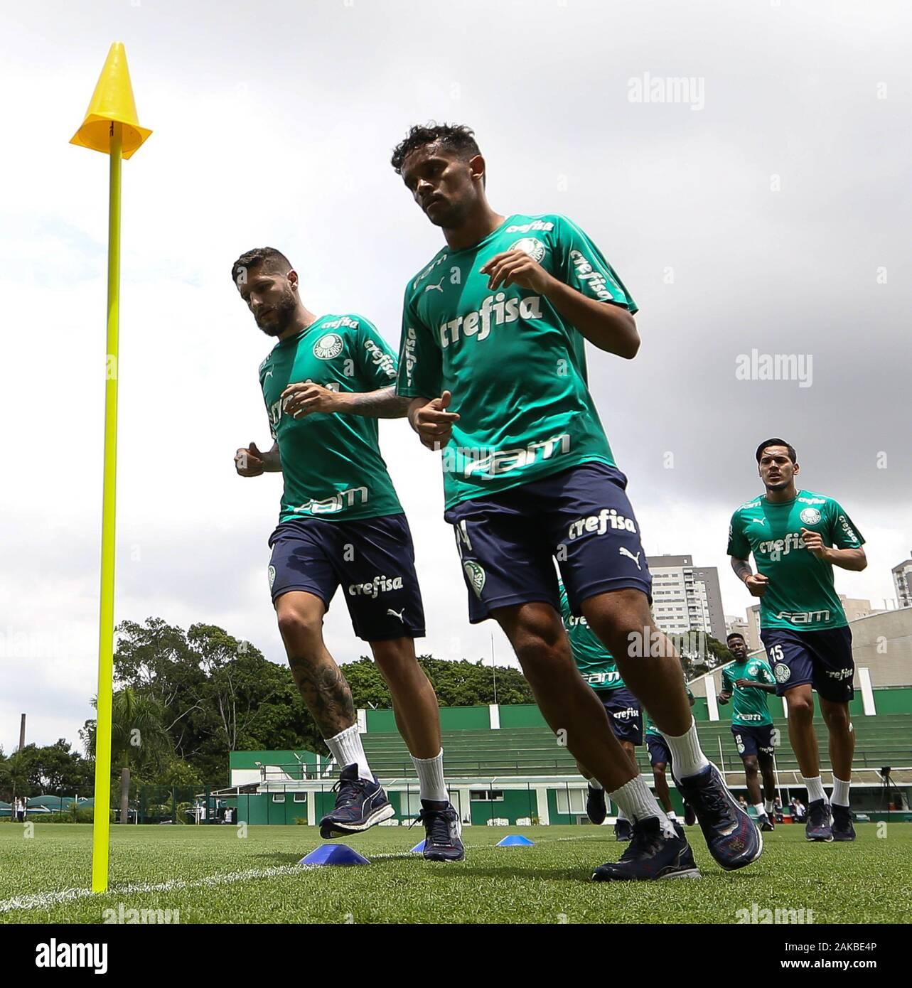 SÃO PAULO, SP - 08.01.2020: TREINO DO PALMEIRAS - Zé Rafael and Gustavo Scarpa (D) players from SE Palmeiras during training at the Football Academy. (Photo: Cesar Greco/Fotoarena) Stock Photo