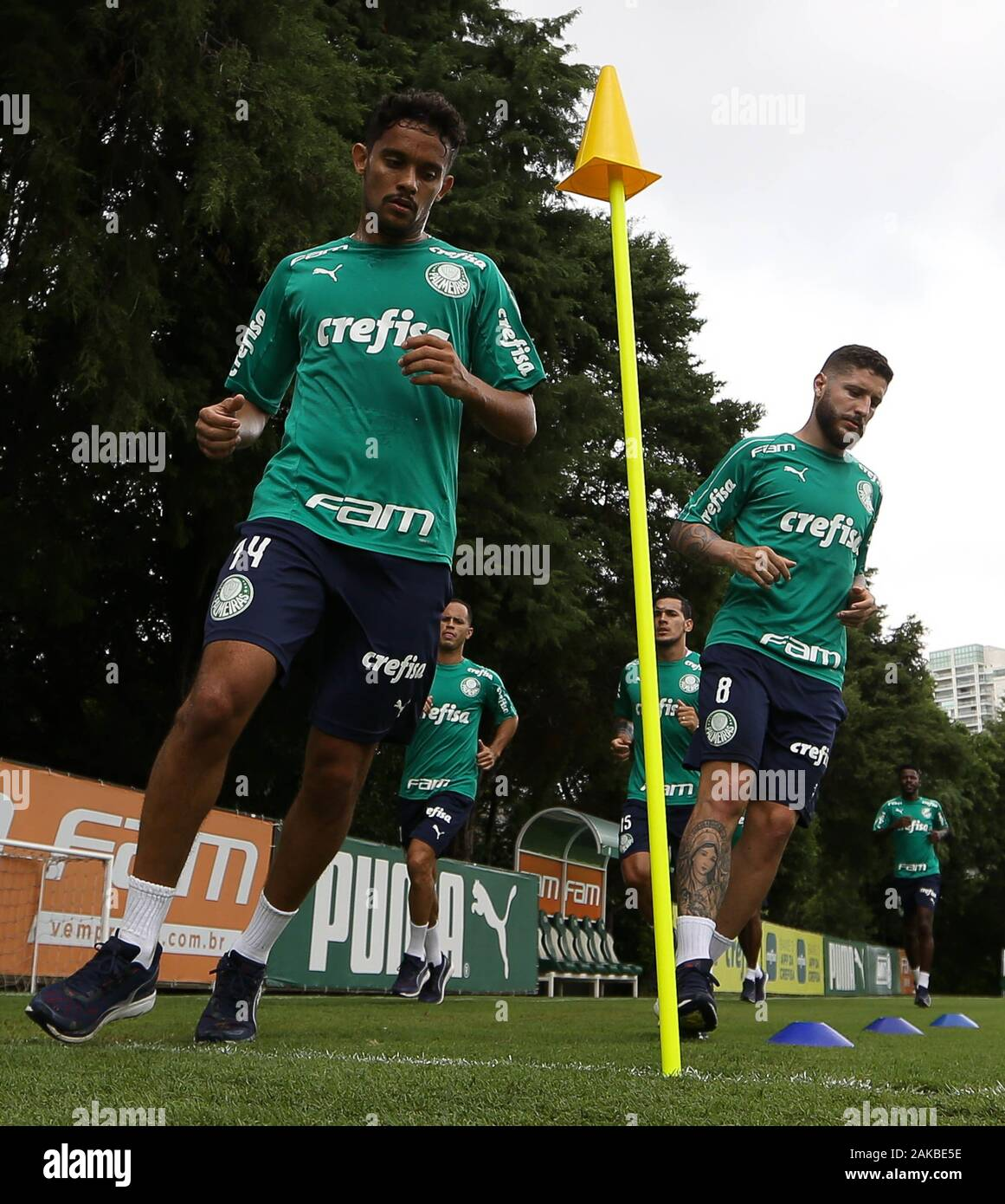 SÃO PAULO, SP - 08.01.2020: TREINO DO PALMEIRAS - Zé Rafael and Gustavo Scarpa (E) players from SE Palmeiras during training at the Football Academy. (Photo: Cesar Greco/Fotoarena) Stock Photo
