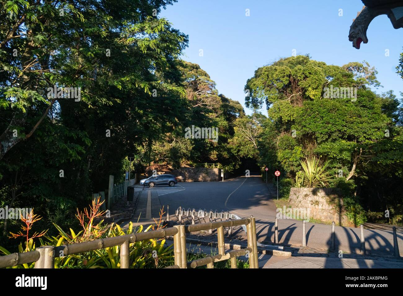The car park and road access to the Vista Chinesa lookout in the Tijuca Forest of Rio de Janeiro. Stock Photo