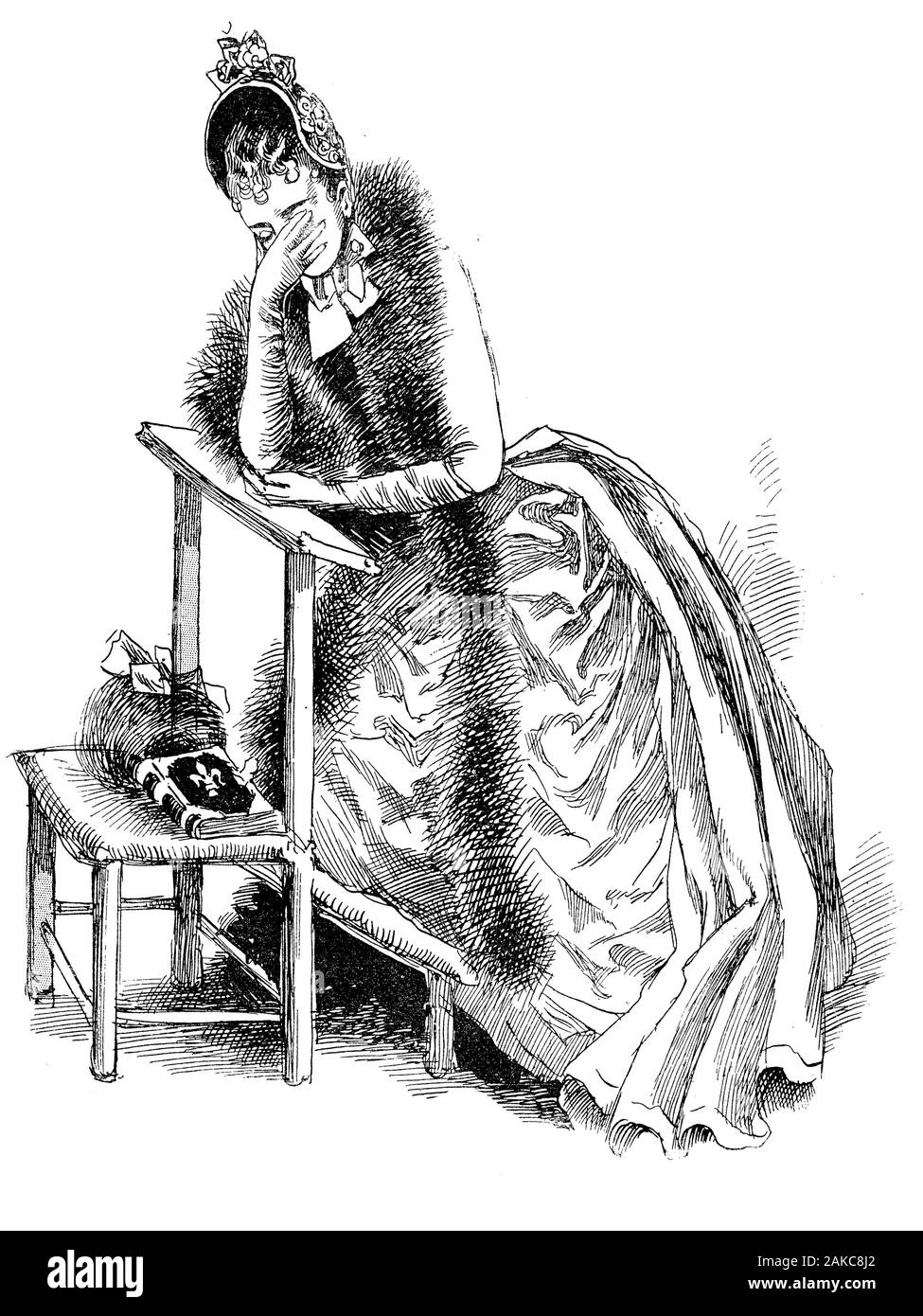 french portrait and caricature young broken hearted woman fancy dressed with fur and fashionable hat cries praying on a kneeler in church alone 2AKC8J2