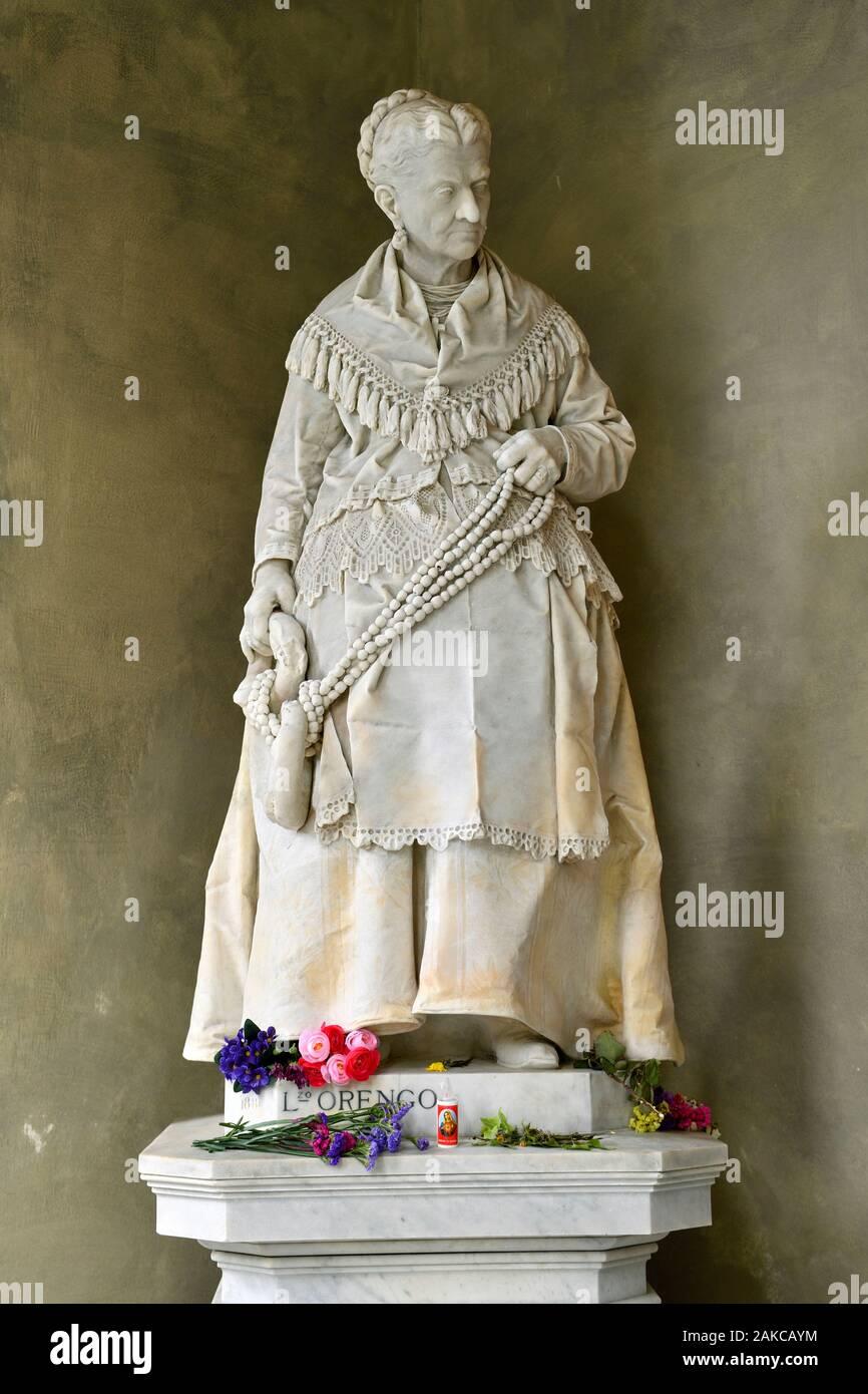 Italy, Liguria, Genoa, Staglieno monumental cimetery, the hazelnut saleswoman, Campodonico tomb of L. Orengo, 1881 Stock Photo